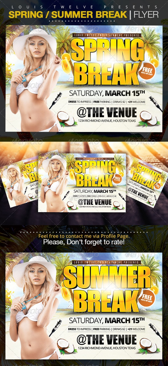 Spring Break / Summer Party | Horizontal Flyer - Clubs & Parties Events