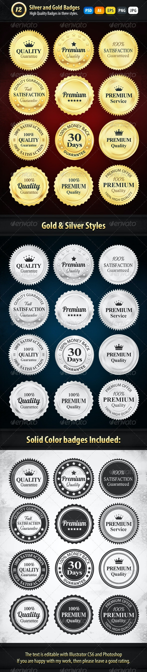 12 Gold And Silver Premium Badges - Badges & Stickers Web Elements