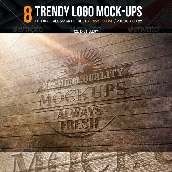 Trendy Logo Mockup - 8 Smart Templates