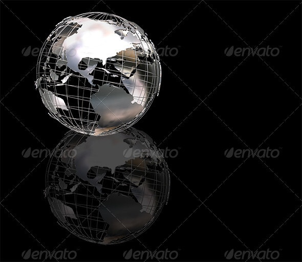 Wiireframe metallic globe - Abstract 3D Renders