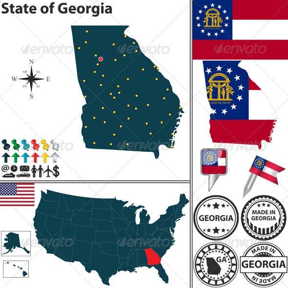 Map of State Georgia, USA