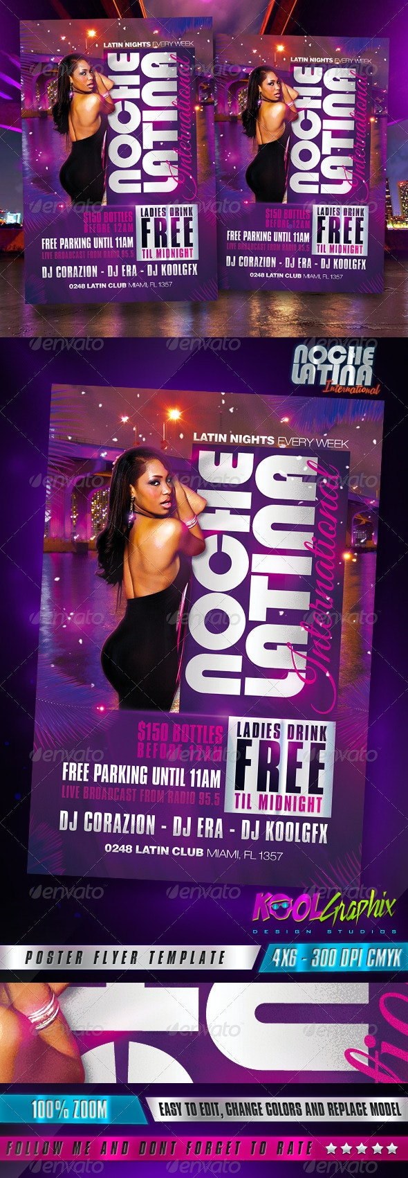 Latin Night - Noche Latina Club Party Flyer - Clubs & Parties Events
