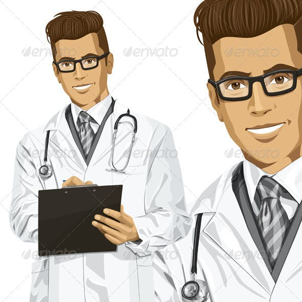 Hipster Doctor Man with Clipboard