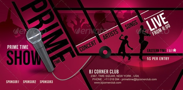 Prime Time Music Ticket Banner Flyer - Events Flyers