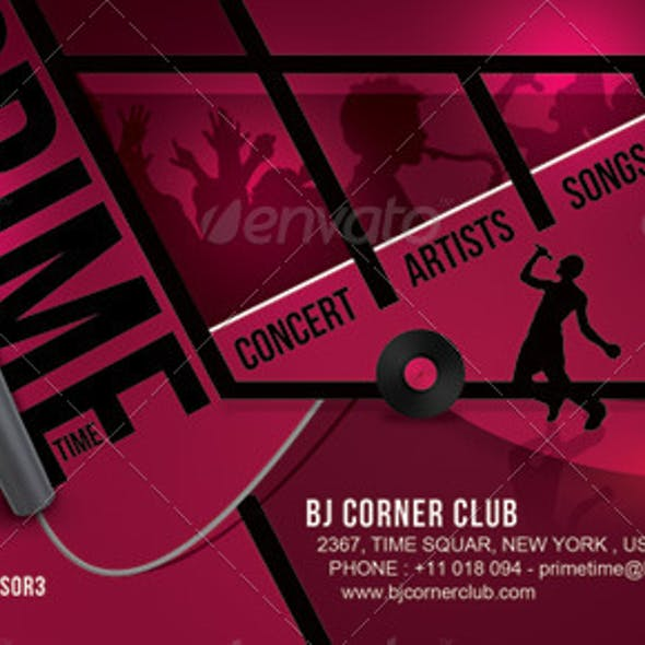 Prime Time Music Ticket Banner Flyer