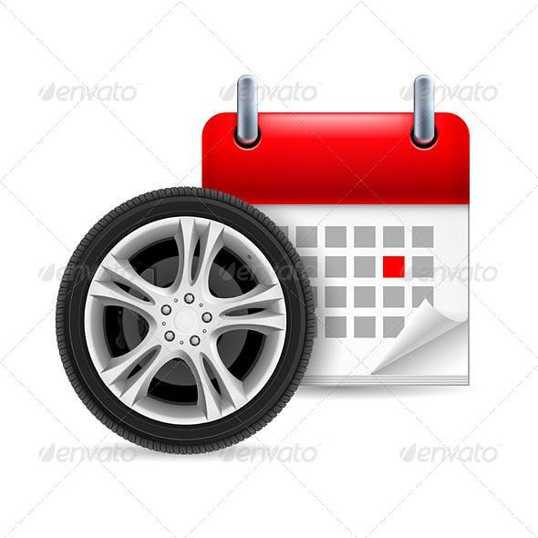 Car Tire and Calendar