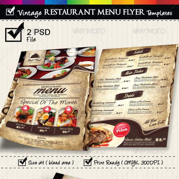 Restaurant Menu Flyer Templates Vintage Texture