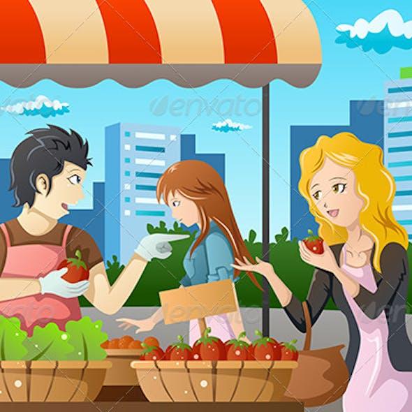 People Shopping in Farmers Market