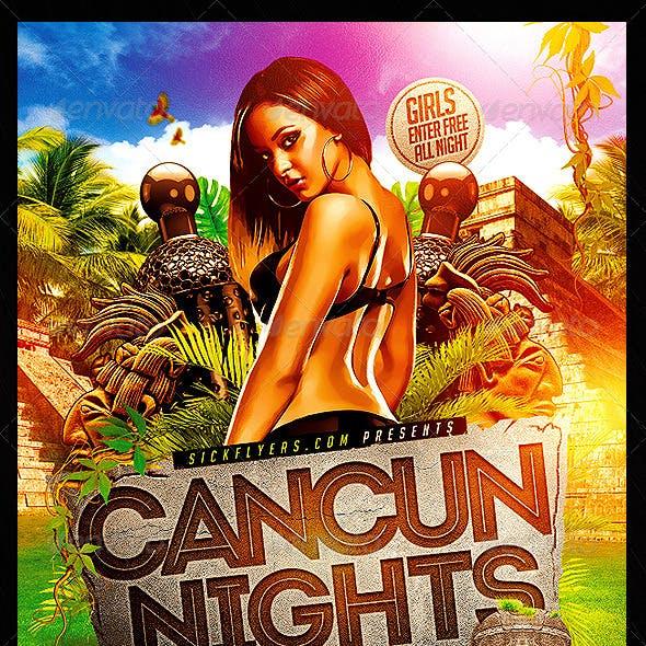Cancun Spring Break Flyer Template PSD