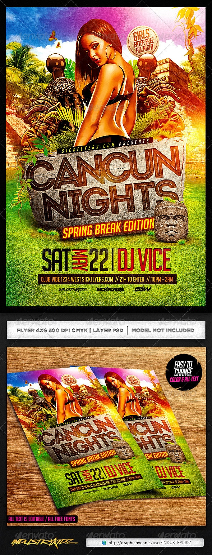 Cancun Spring Break Flyer Template PSD - Clubs & Parties Events