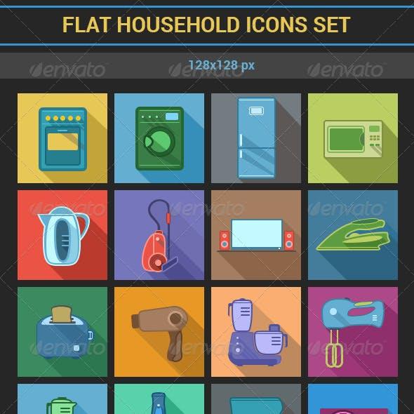 Flat Household Icons Set