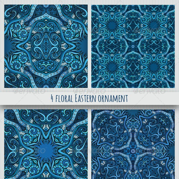 4 Floral Eastern Style Ornaments