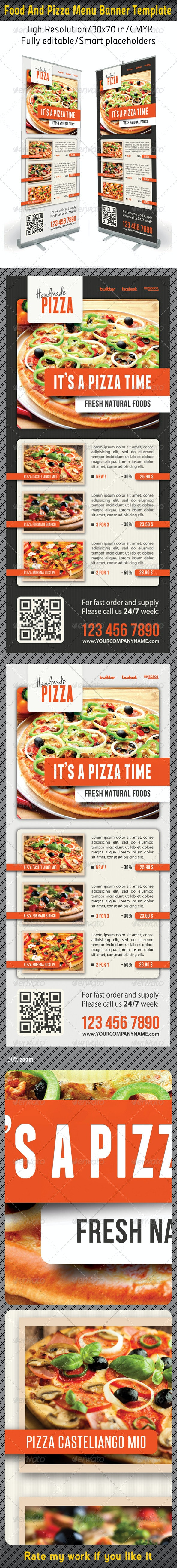 Food And Pizza Menu Banner Template 08 - Signage Print Templates