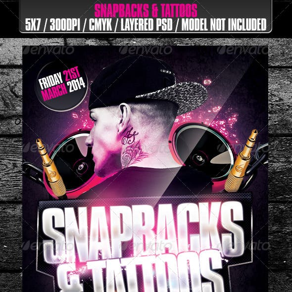 Snapbacks & Tattoos Club Flyer
