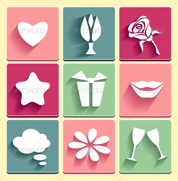 Set of Love, Chat and Celebration Icons - Web Elements Vectors