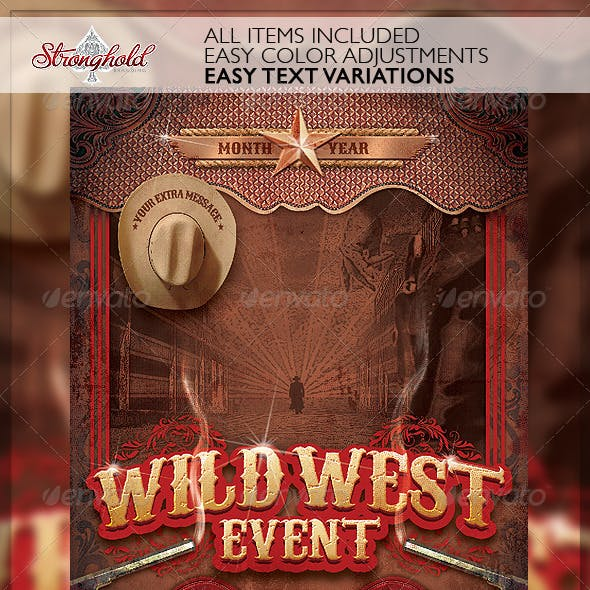 Wild West Gunslinger Flyer Poster Template