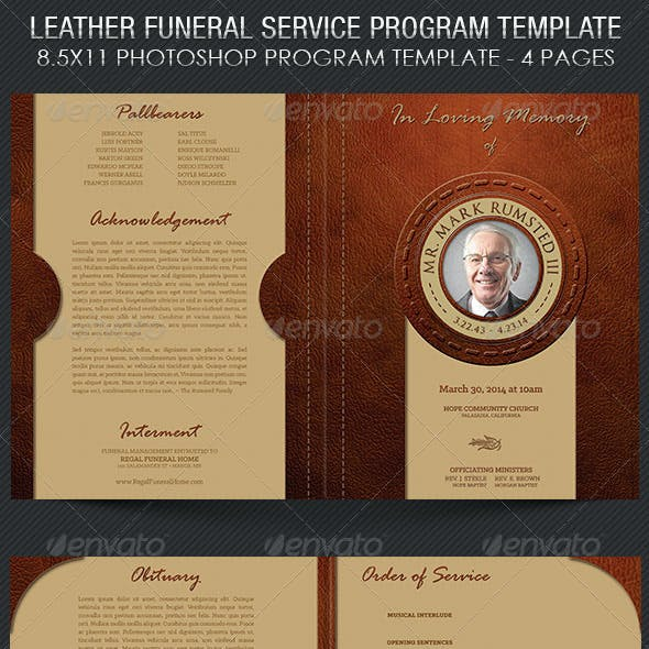 Leather Funeral Program Template - 4 Pages