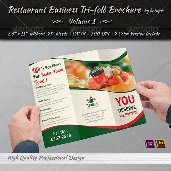 Restaurant Business Tri-Fold Brochure | Volume 1