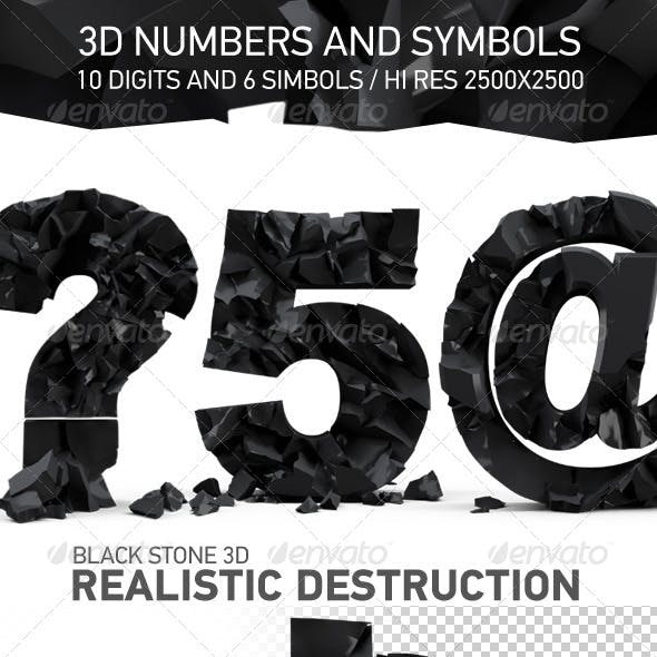 Black Stone 3d Number and Signs