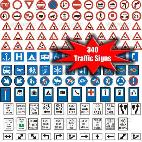 340 Vectorized Standard Traffic Signs