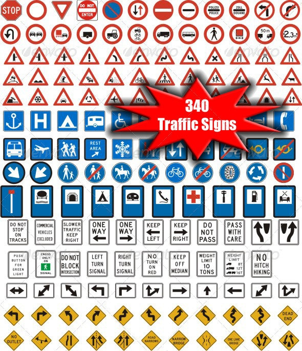 340 Vectorized Standard Traffic Signs - Objects Vectors