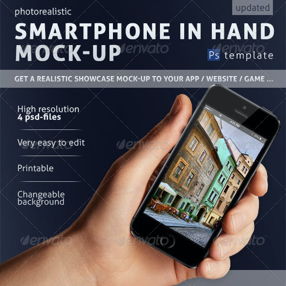 Mobile Phone in Hand Mock-up