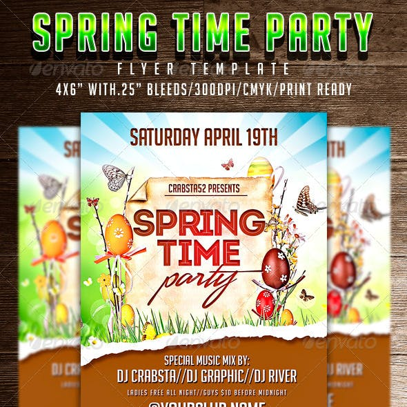Spring Time Party Flyer Template