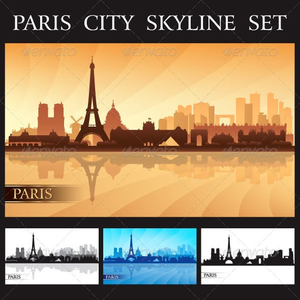 Paris City Skyline Silhouettes Set