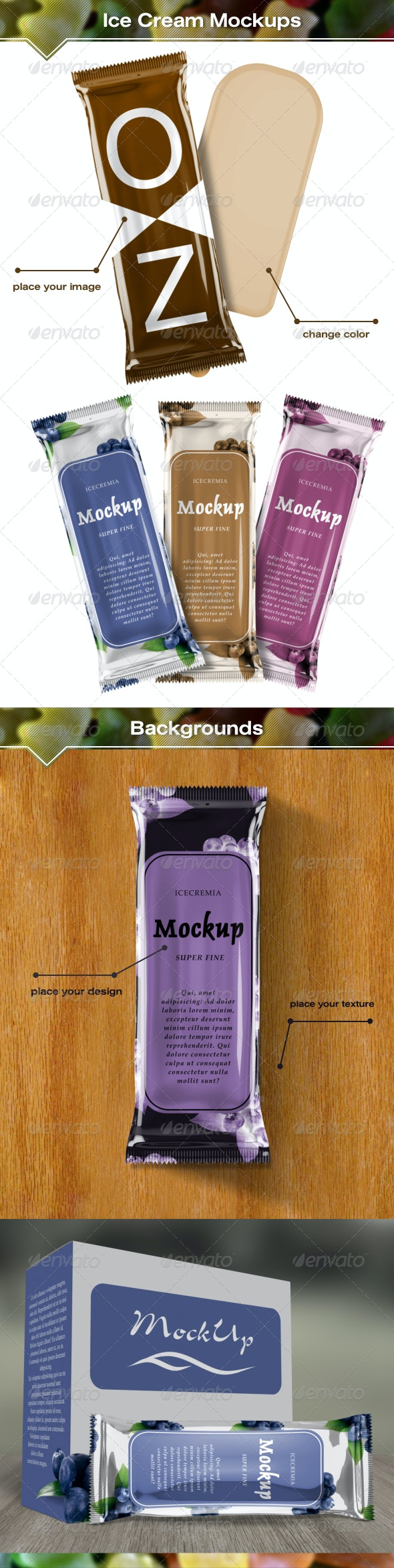 Ice Cream Package Mockups - Food and Drink Packaging