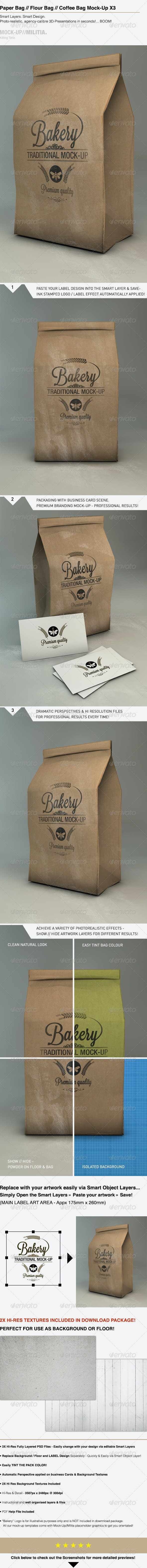 Paper Bag Mock-Up | Flour - Coffee Bag Mock-Up - Miscellaneous Packaging