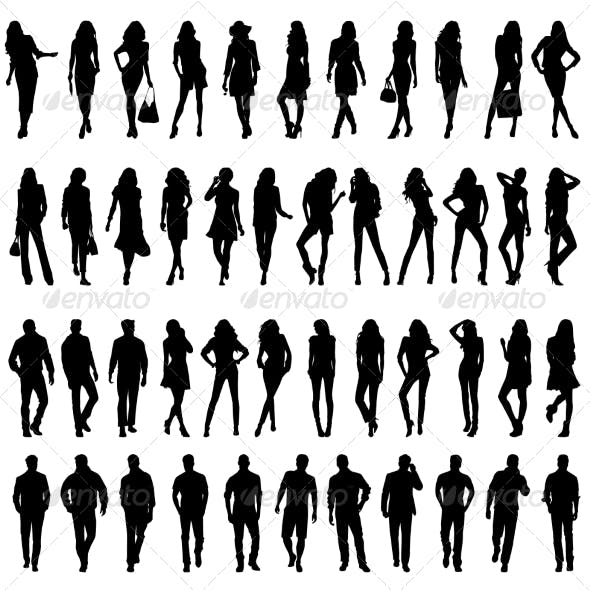 Silhouettes of Young Women and Men