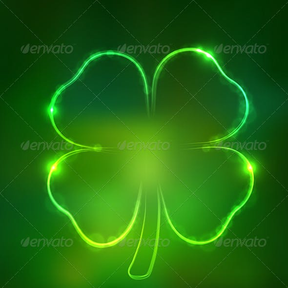 Irish Shamrock for St Patrick's Day on Dark Green