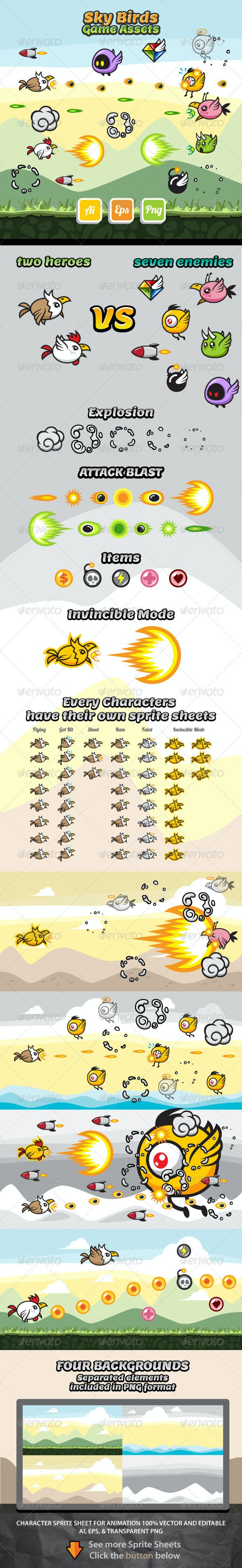 Sky Birds Game Assets - Sprites Game Assets