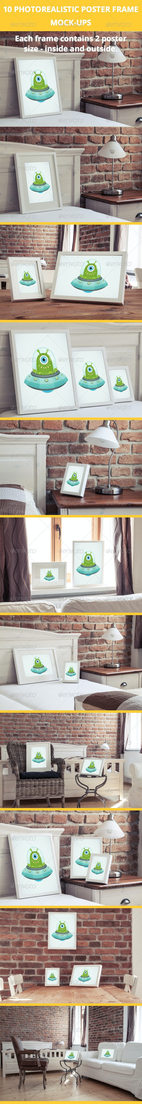 10 Poster Frame Mock-Ups in luxury interior - Posters Print