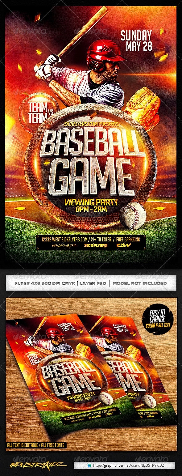 Baseball Flyer Template PSD - Sports Events