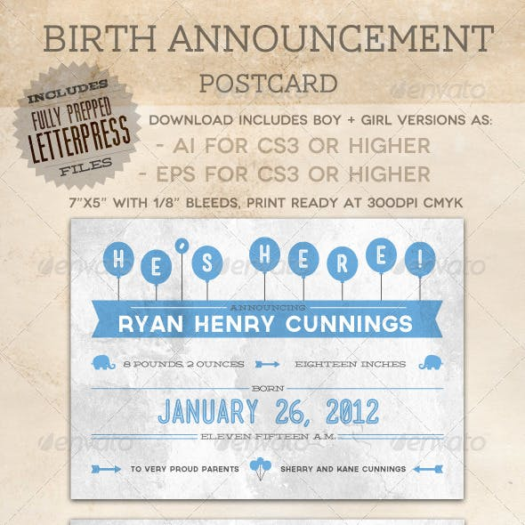 Birth Announcement Postcard