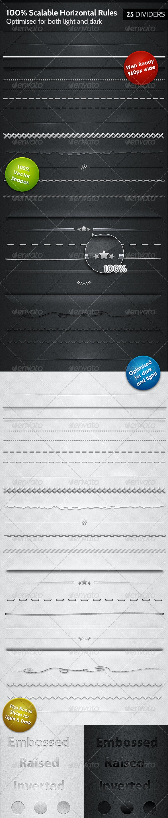 25 Horizontal Rules / Dividers - 100% Resizable - Miscellaneous Web Elements