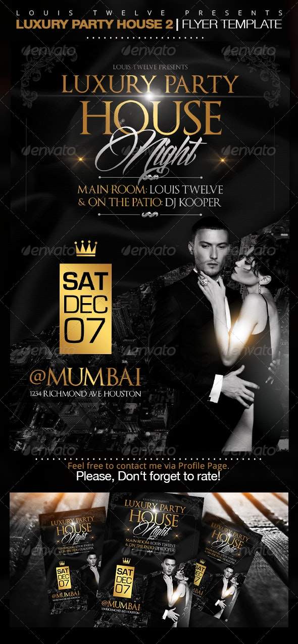 Luxury Party House 2   Flyer Template - Clubs & Parties Events