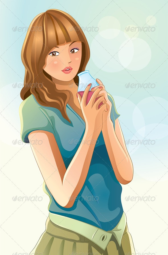 Cute Girl Drinking Juice - People Characters