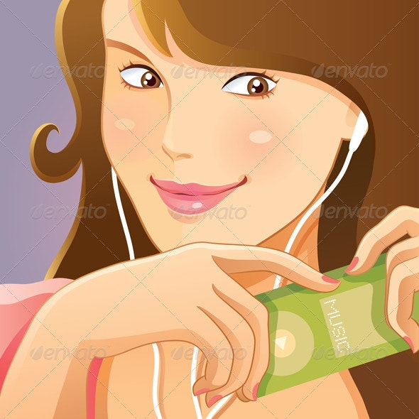 Cute Girl Listening Music - People Characters