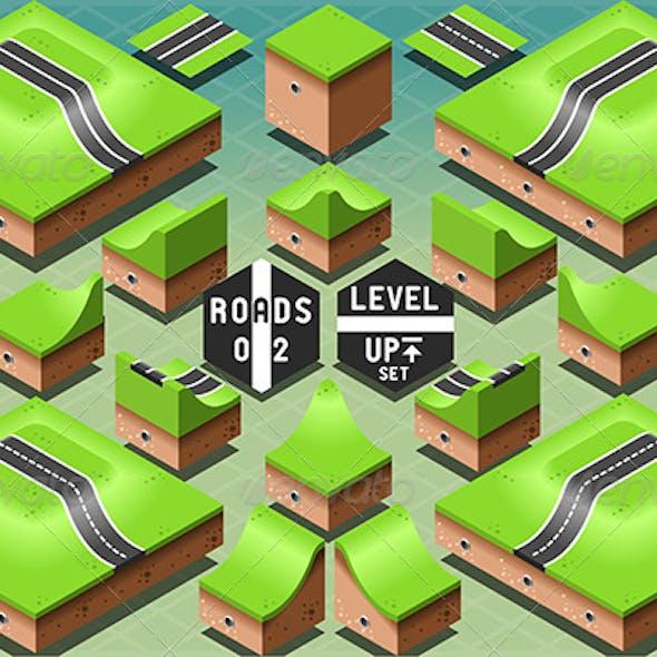 Isometric Roads on Two Levels Terrain