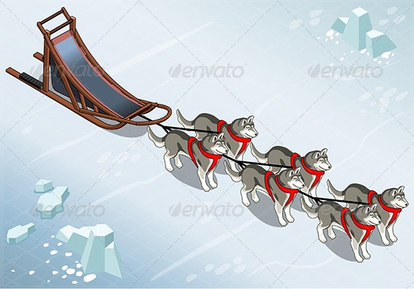 Isometric Sled Dogs in Front View on Ice - Animals Characters