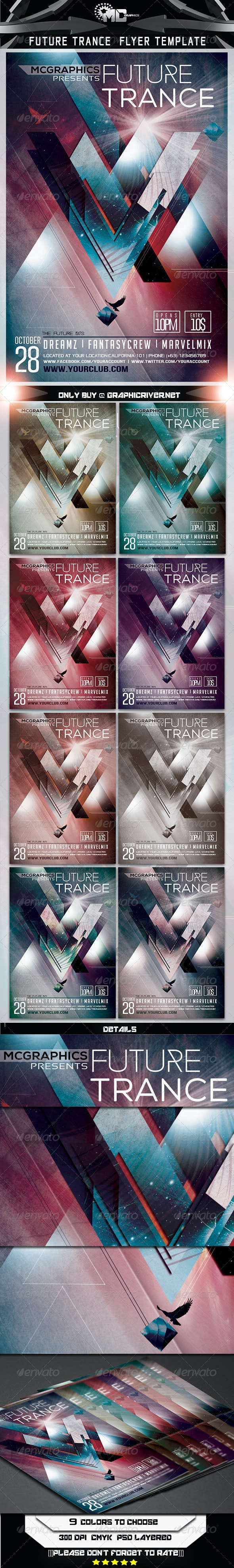 Future Trance Flyer Template - Clubs & Parties Events