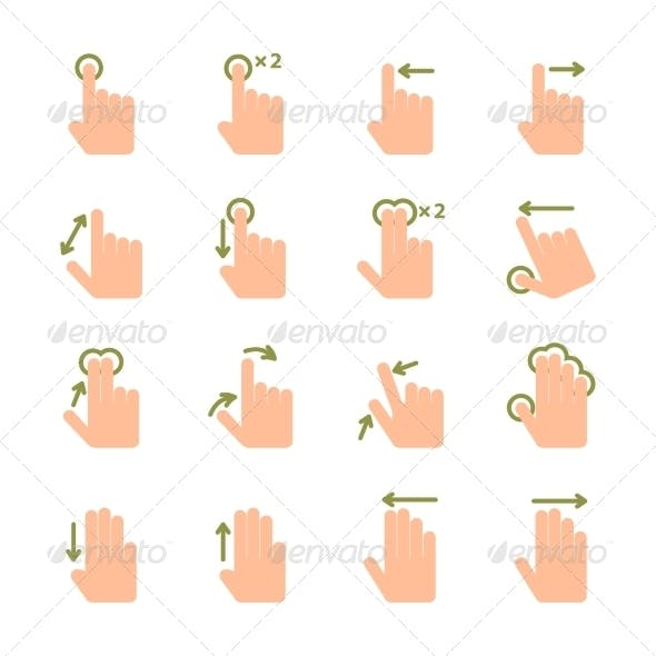 Hand Touch Gesture Icons
