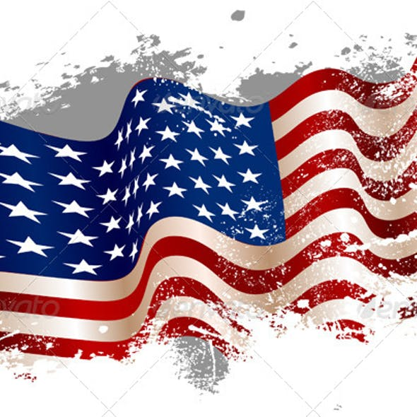 American Flag in a Grunge Background