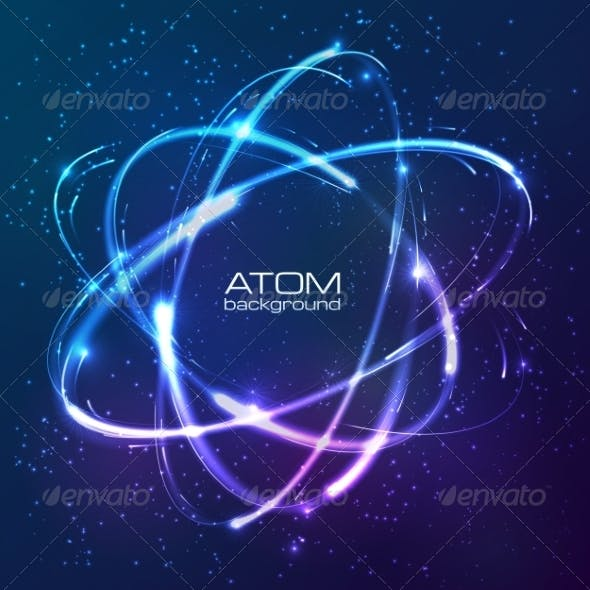 Shining Neon Lights Atom Model