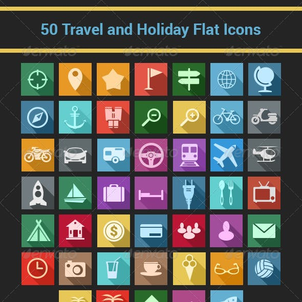 Travel and Holiday Flat Icons Set