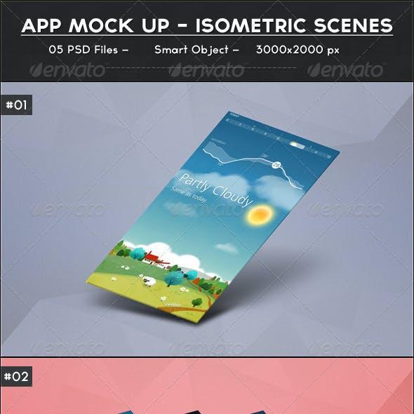 App Mock up - Isometric Scenes