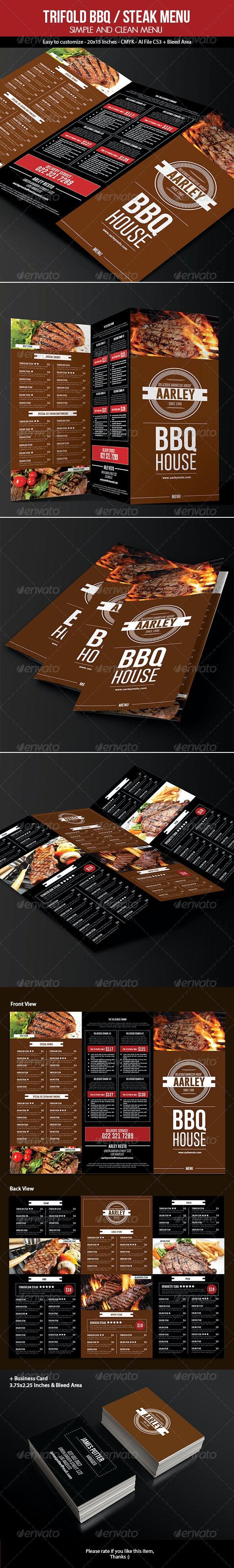 Trifold BBQ / Steak Menu + Business Card - Food Menus Print Templates