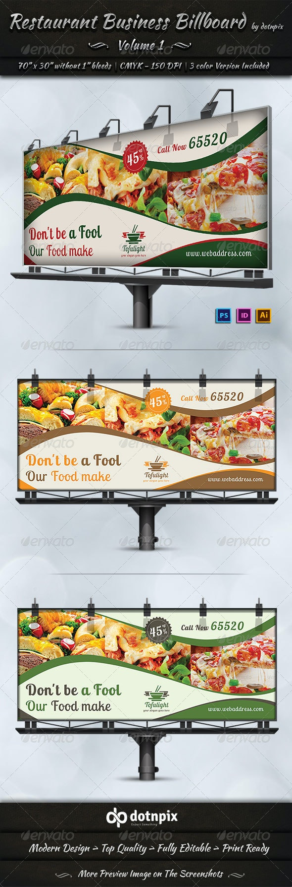 Restaurant Business Billboard | Volume 1 - Signage Print Templates